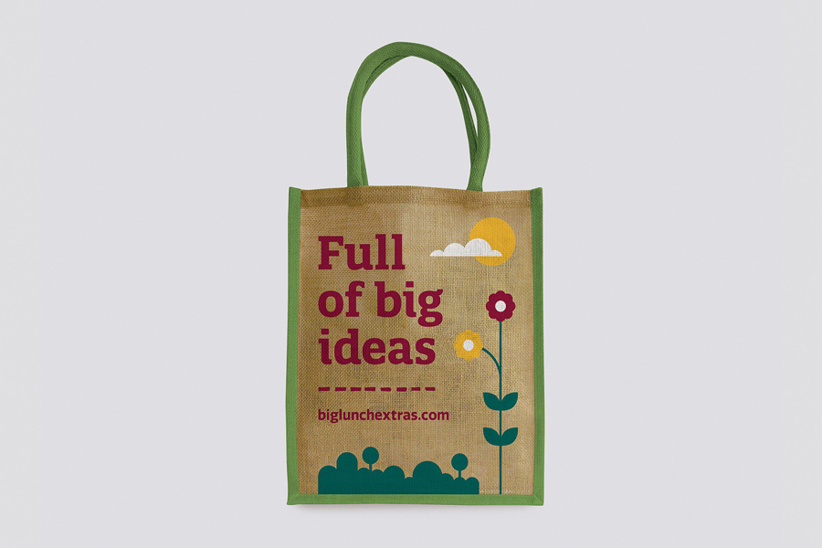 Branded bag designed by Believe In for Eden Project's Big Lunch Extras