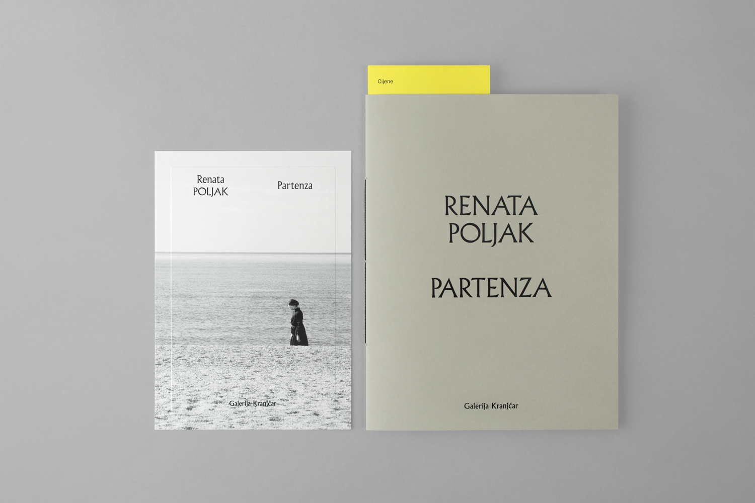 Brand identity and individual exhibition brochures with blind emboss by Bunch for Zagreb-based modern art gallery Galerija Kranjčar.