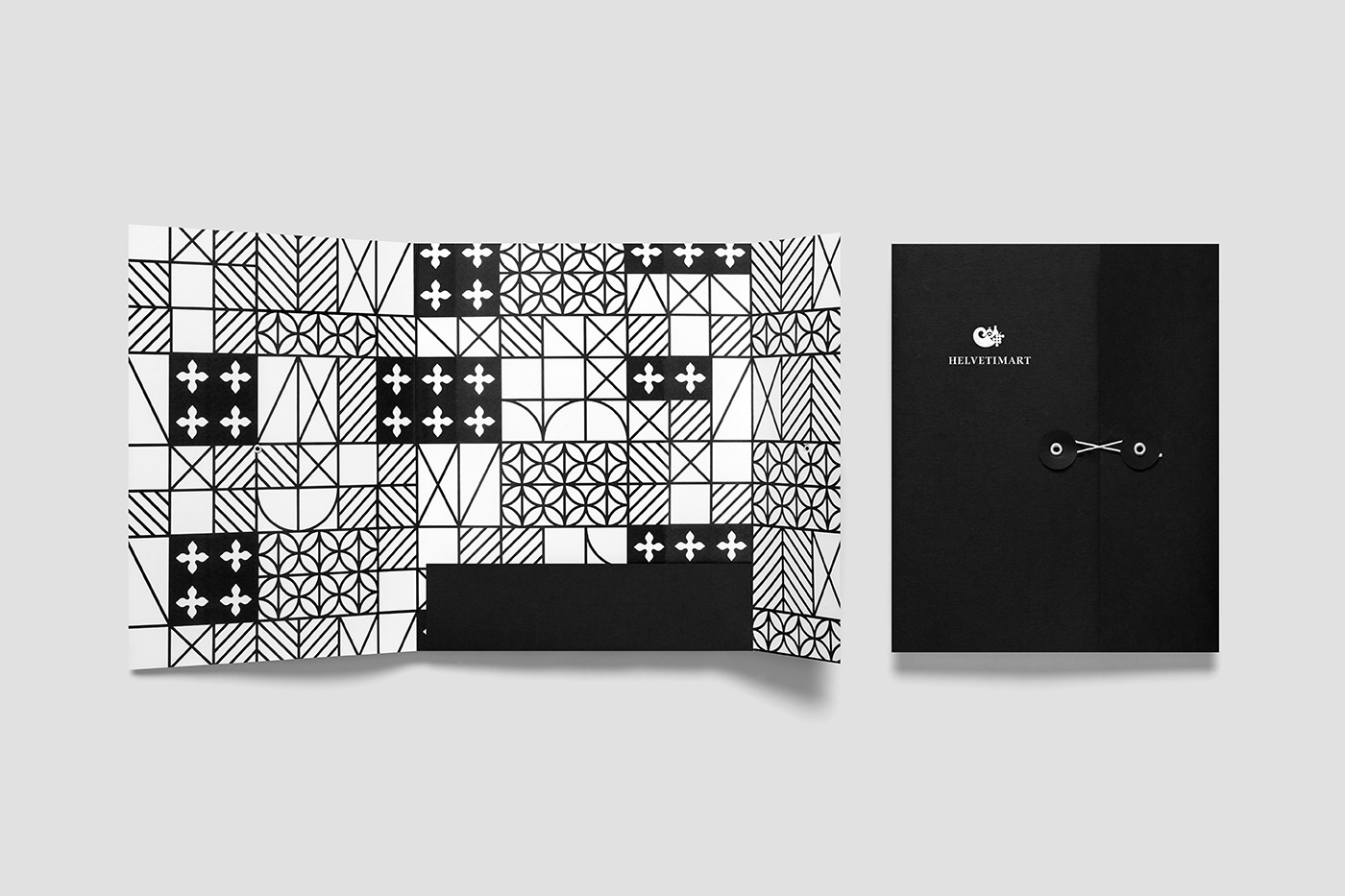 Brand identity and folder by Anagrama for Lausanne-based independent food and speciality supermarket Helvetimart