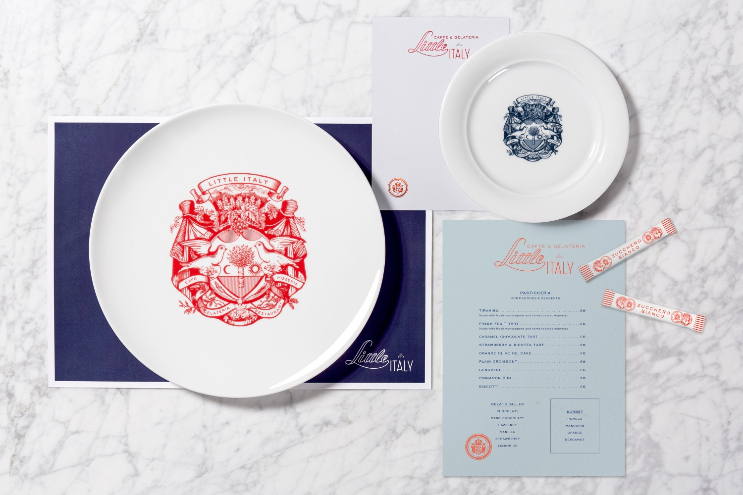 Brand identity by British studio Here Design for Amman-based restaurant Little Italy
