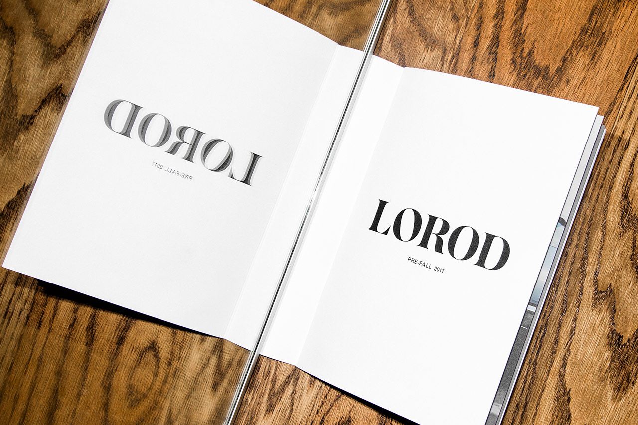 Wordmark and lookbook by Pentagram's Natasha Jen for fashion brand Lorod.