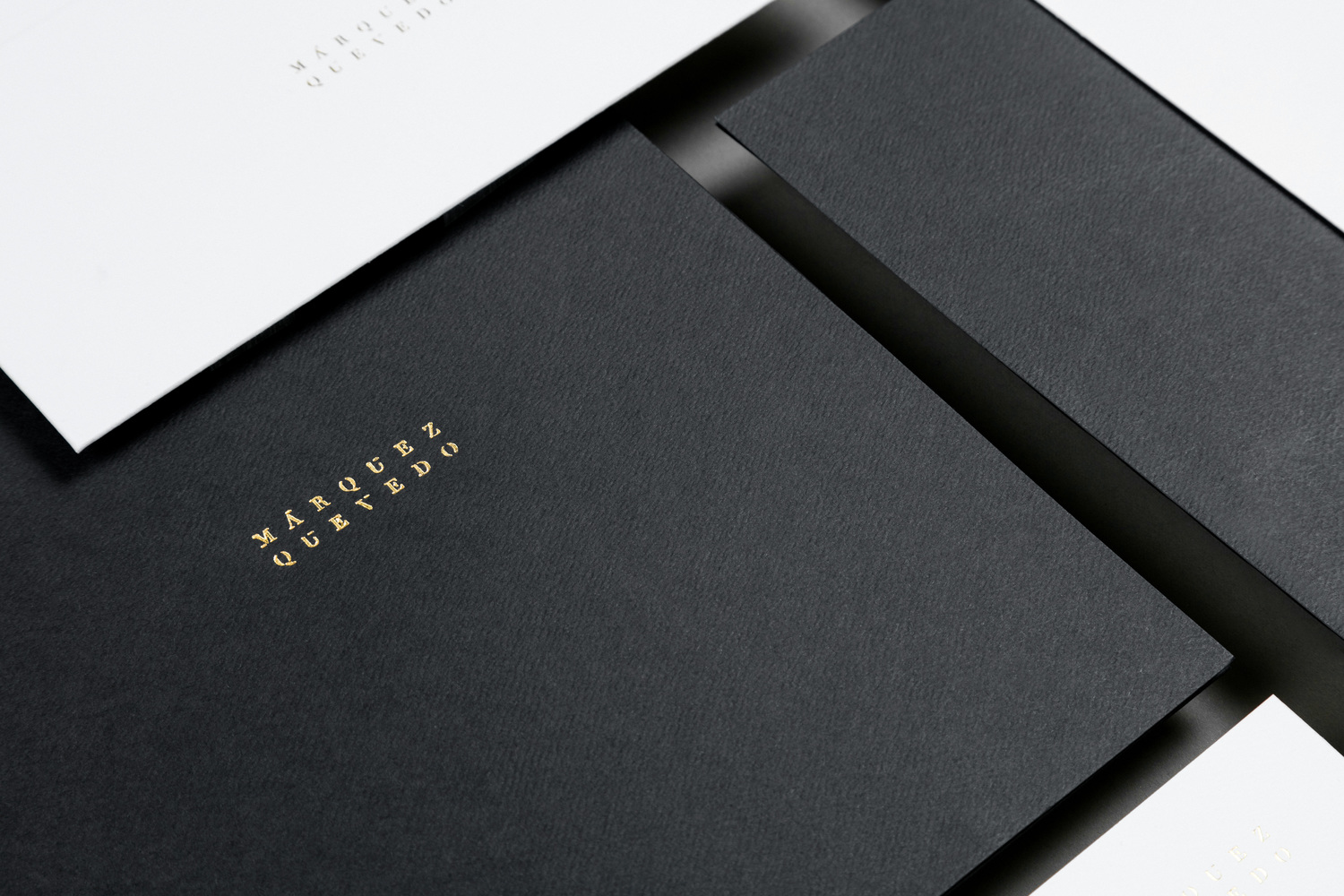 Brand identity and gold foiled stationery for Mexican architectural studio Marquez Quevedo by La Tortillería