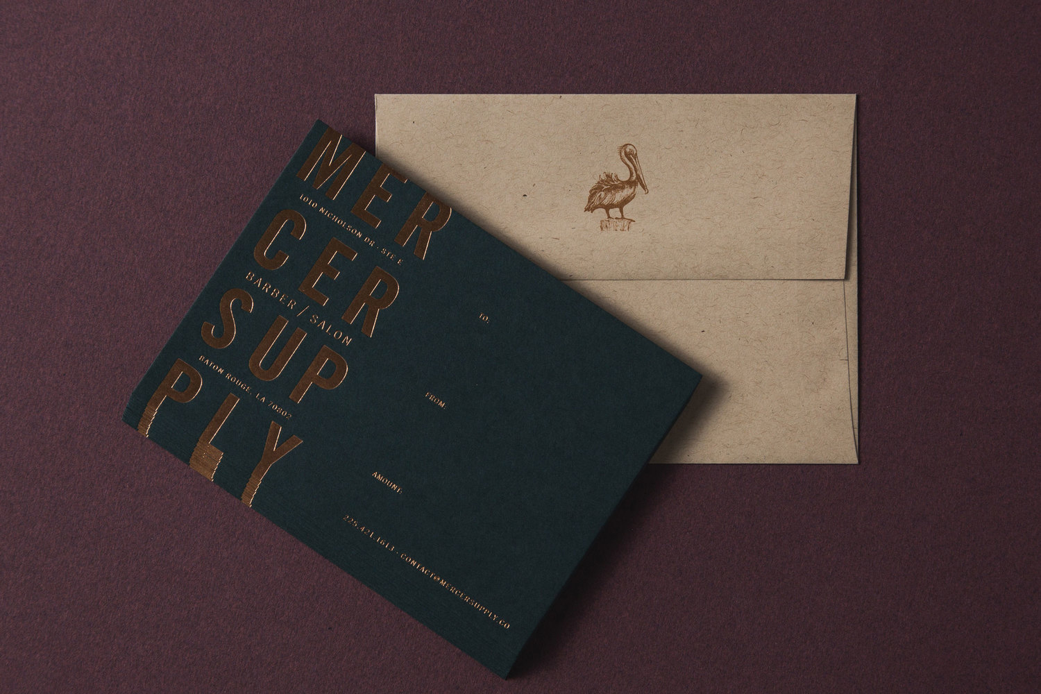 Brand identity, envelope and copper foiled notecard for salon and barber Mercer Supply Co. designed by Peck & Co.