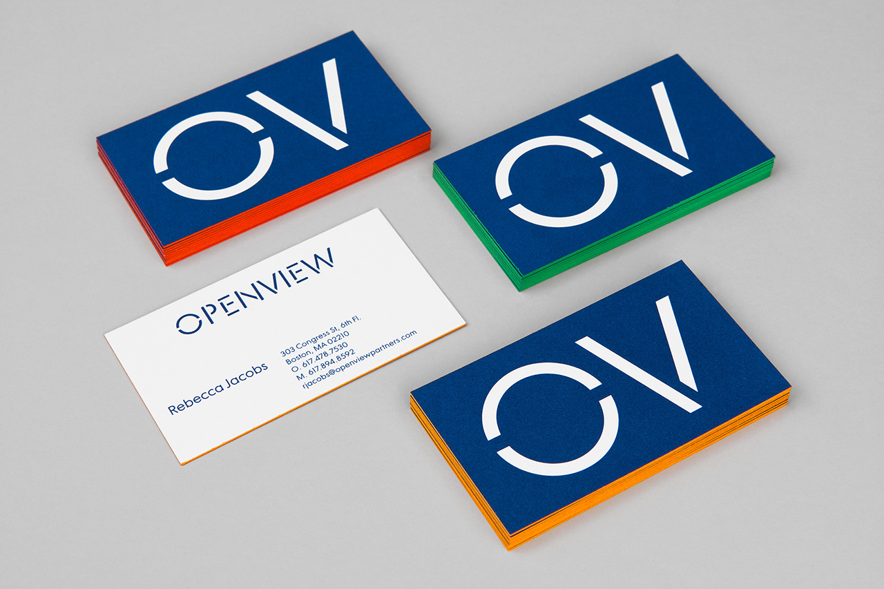 Branding, custom typography and edge painted business cards by Pentagram for Boston-based venture capital firm OpenView.