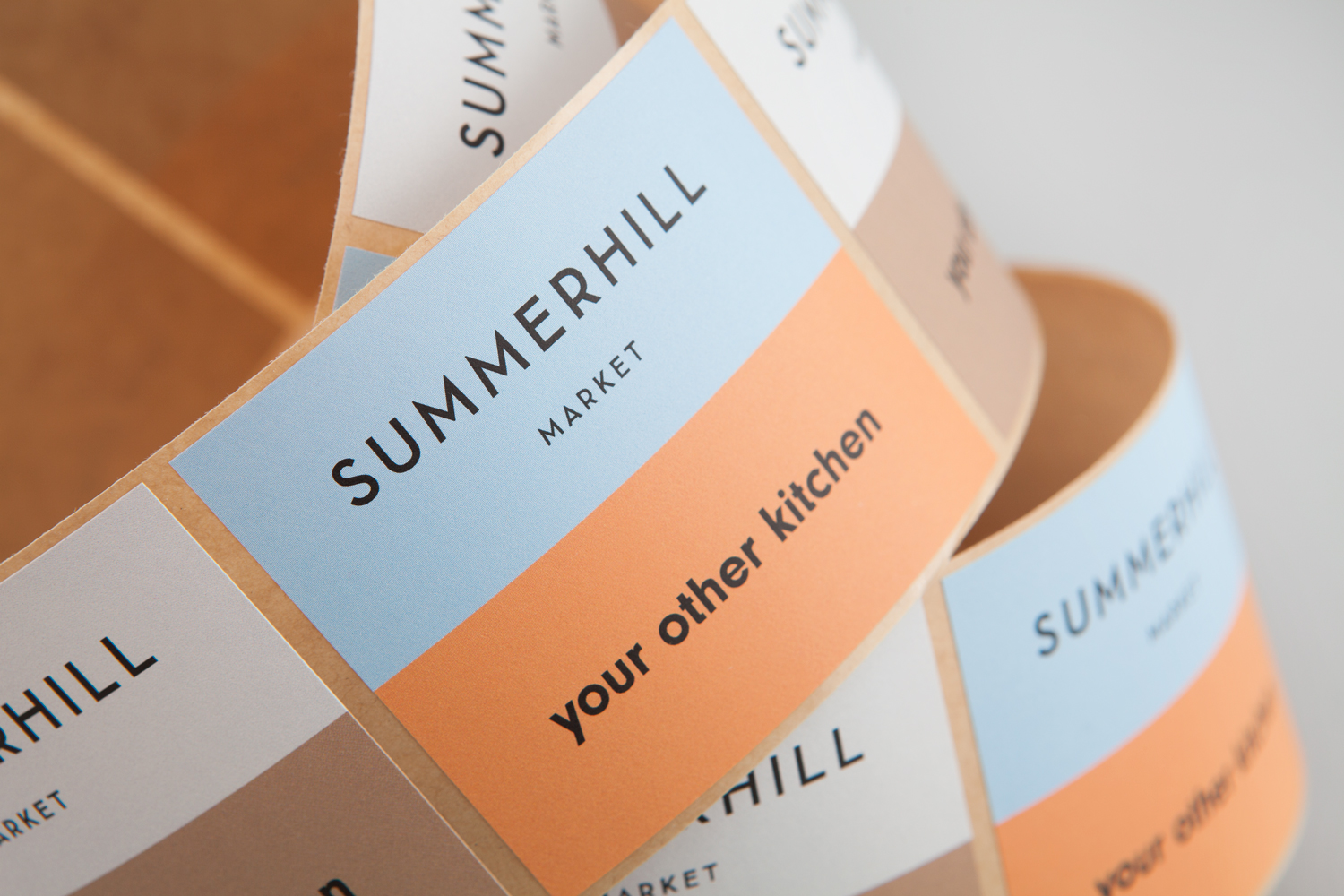 Logotype and stickers designed by Canadian studio Blok for Toronto based boutique grocery store Summerhill Market