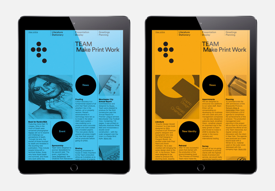 Visual identity and digital experience for Leeds based print production business Team Impression by Design Project