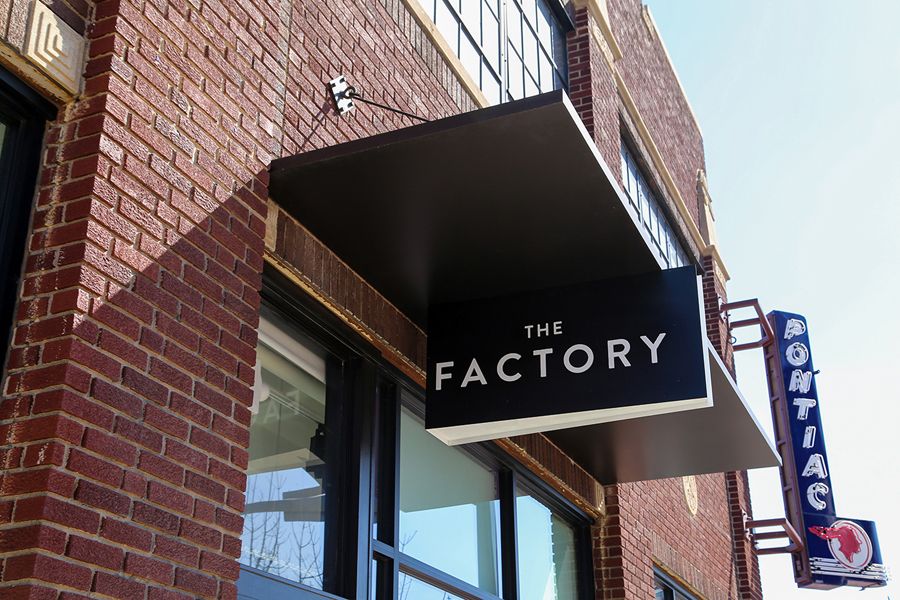 Signage for Oklahoma City fashion store The Factory graphic design studio Ghost