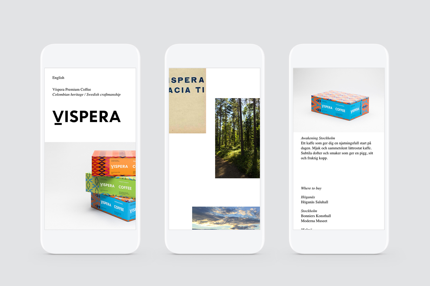 Branding and website created by Stockholm Design Lab for Víspera Coffee, a range of 100% Arabica beans sourced from the high altitude plantations of Columbia.