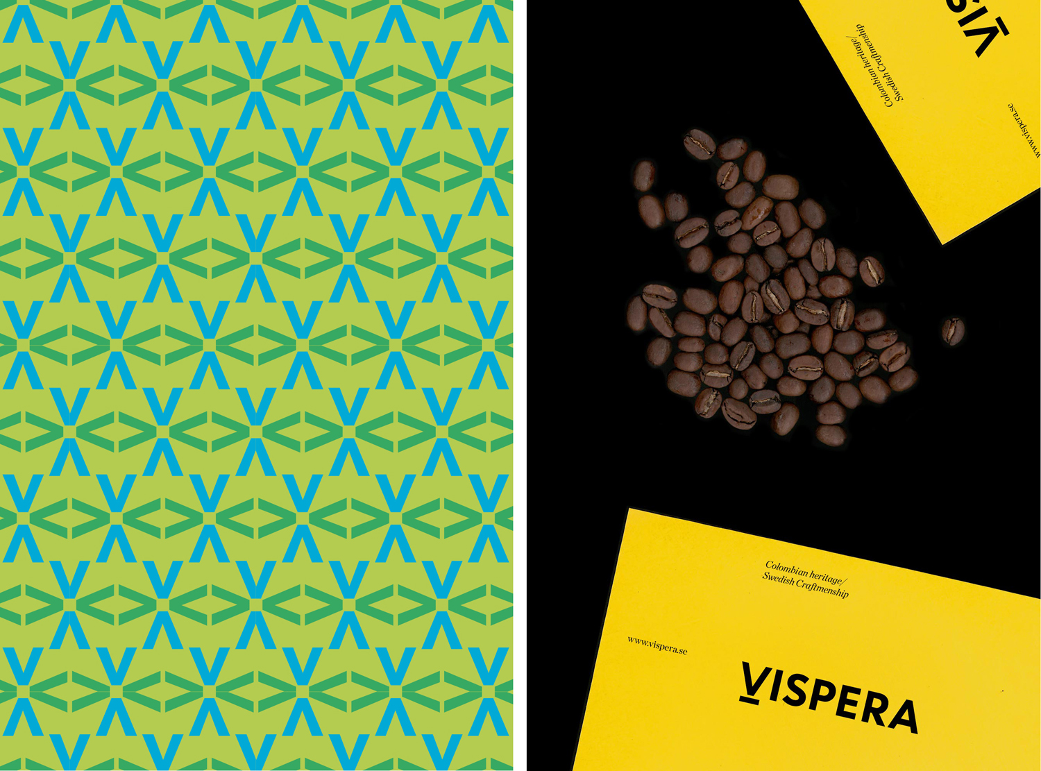 Pattern and print created by Stockholm Design Lab for Víspera Coffee, a range of 100% Arabica beans sourced from the high altitude plantations of Columbia.