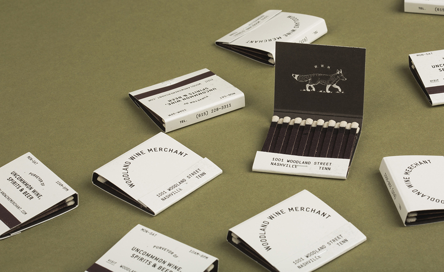 Branded matches for Nashville based Woodland Wine Merchant by Perky Bros