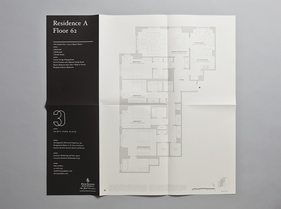 Floor plan for Four Seasons private residence Thirty Park Place designed by Mother