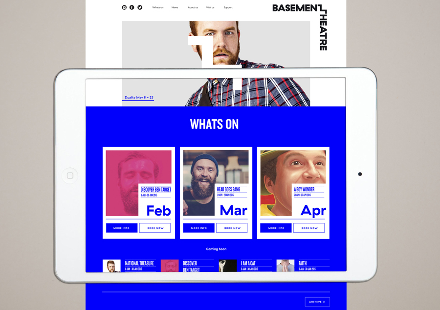 Branding and website for Auckland's Basement Theatre by graphic design agency Studio Alexander