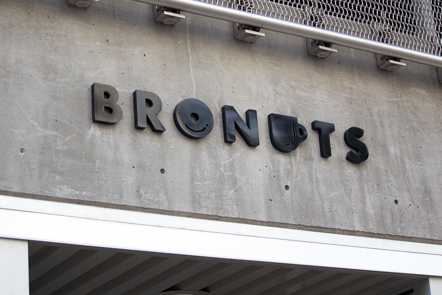 Logotype and signage for Bronuts by Canadian graphic design studio One Plus One