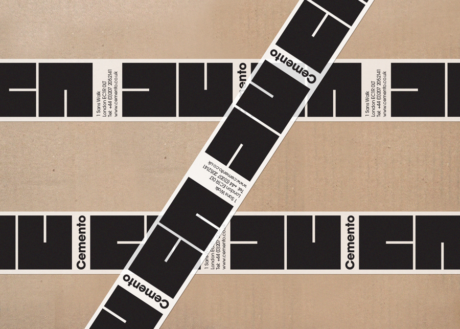 Logo and box tape designed by S-T for cement veneer product Cemento featured on BP&O