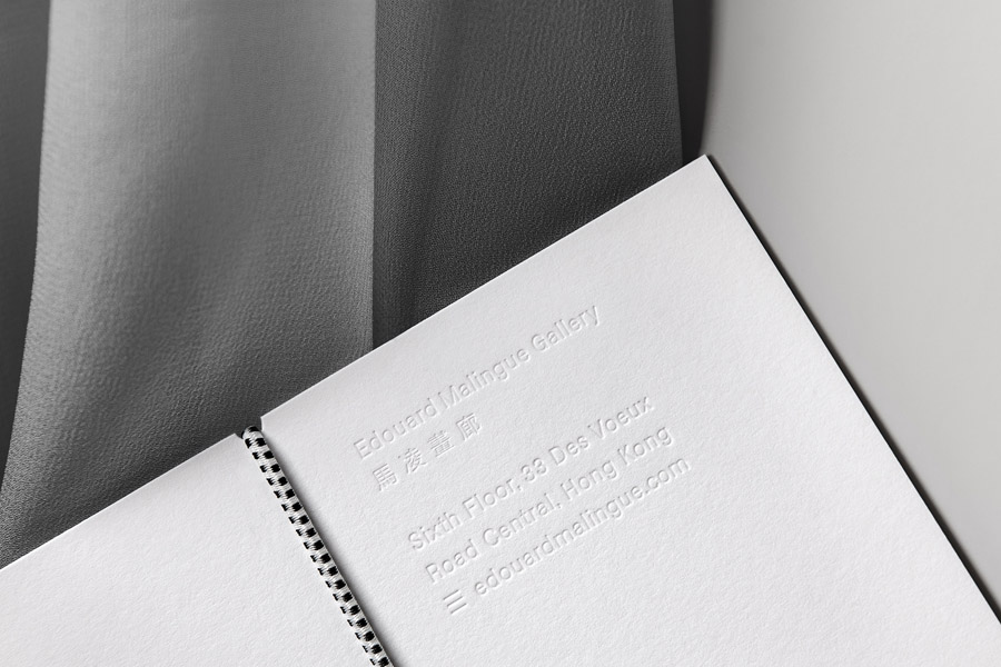 Blind embossed document holder for Edouard Malingue Gallery by graphic design studio Lundgren+Lindqvist