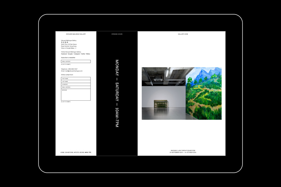 Responsive website for Edouard Malingue Gallery Hong Kong by graphic design studio Lundgren+Lindqvist