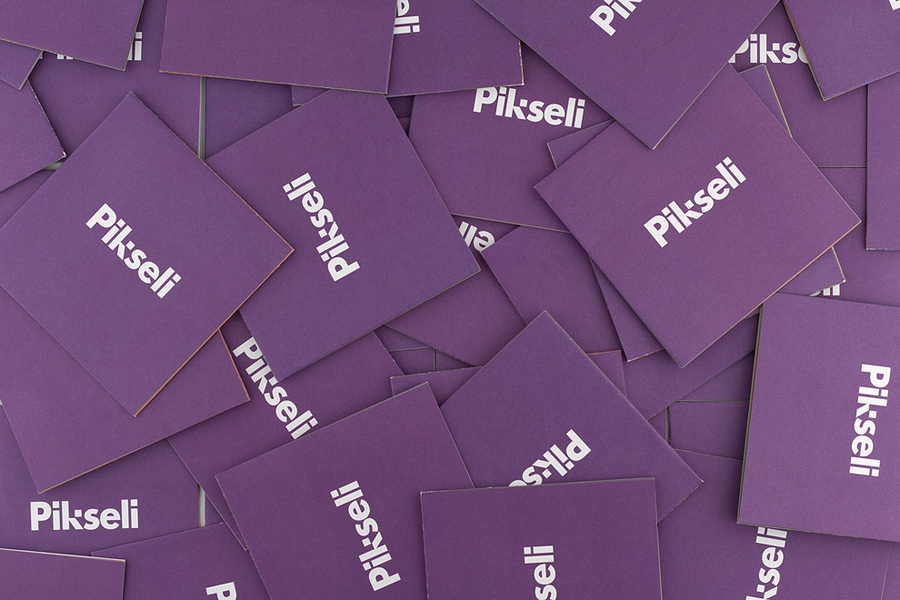 Square business card for Finnish office space Pikseli designed by Werklig