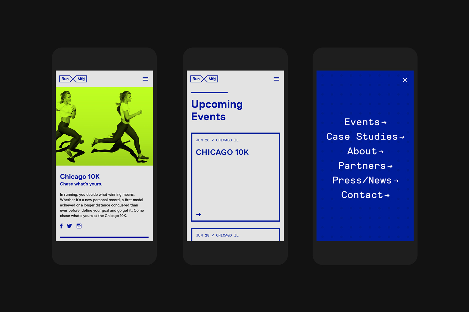 Brand identity and website by Perky Bros for Chicago-based independent race design and production company Run Mfg