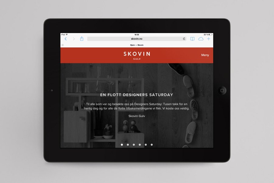 Visual identity and website designed by Heydays for Norwegian high-end wood flooring specialist Skovin