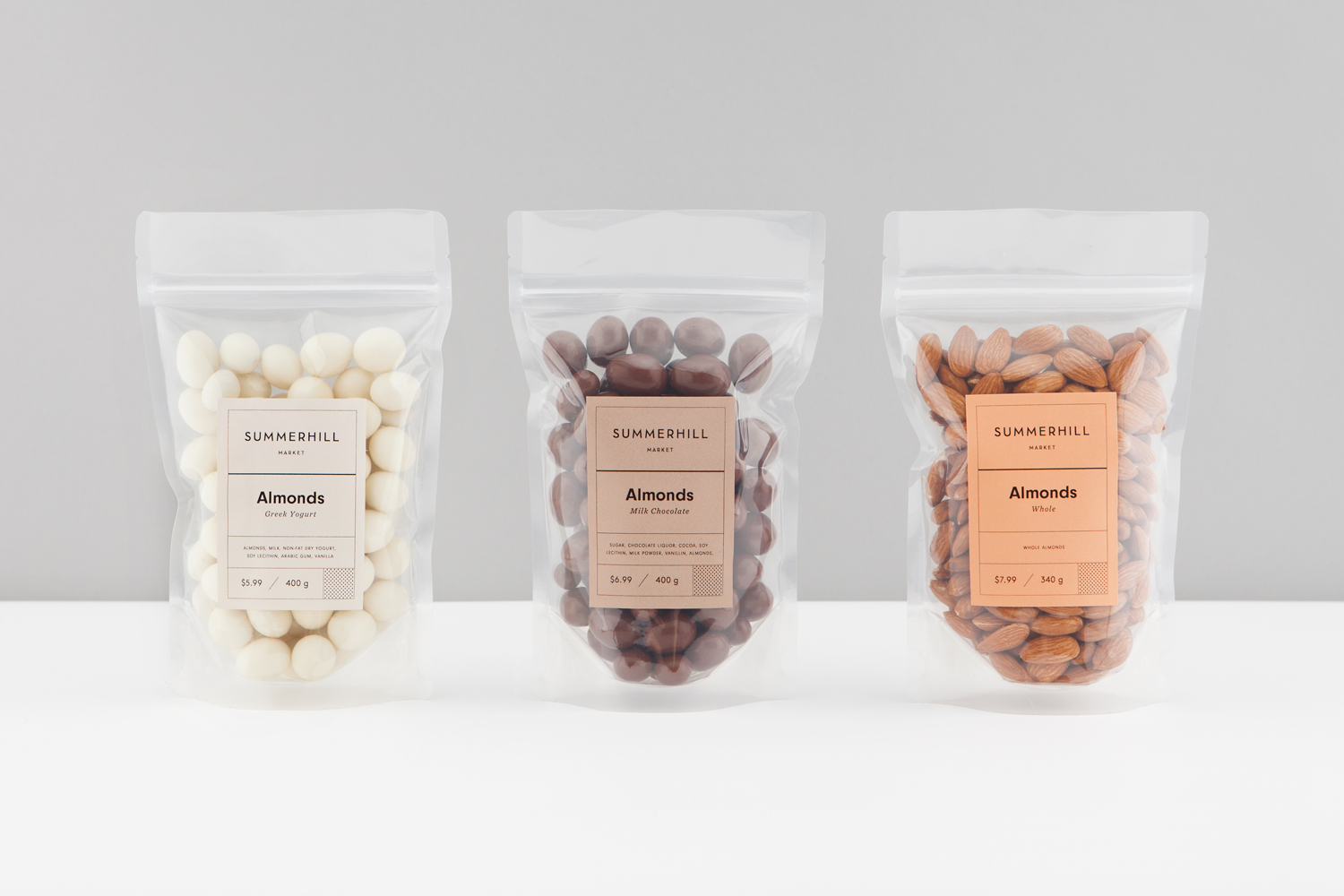 Branding and almond packaging designed by Canadian studio Blok for Toronto based boutique grocery store Summerhill Market