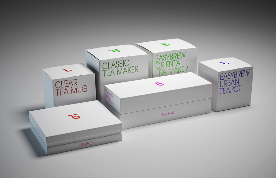 Brand identity and package design for tea subscription service Teabox by graphic design studio Pentagram, United States