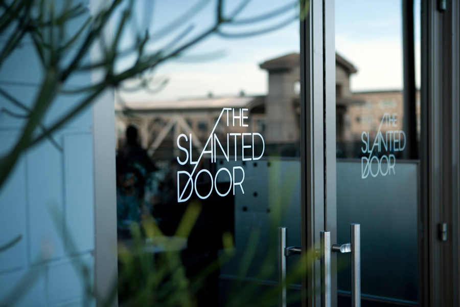 Logo as a window decal for Vietnamese restaurant The Slanted Door designed by Manual