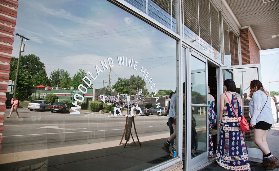 Window decals and logo for Nashville based Woodland Wine Merchant by Perky Bros