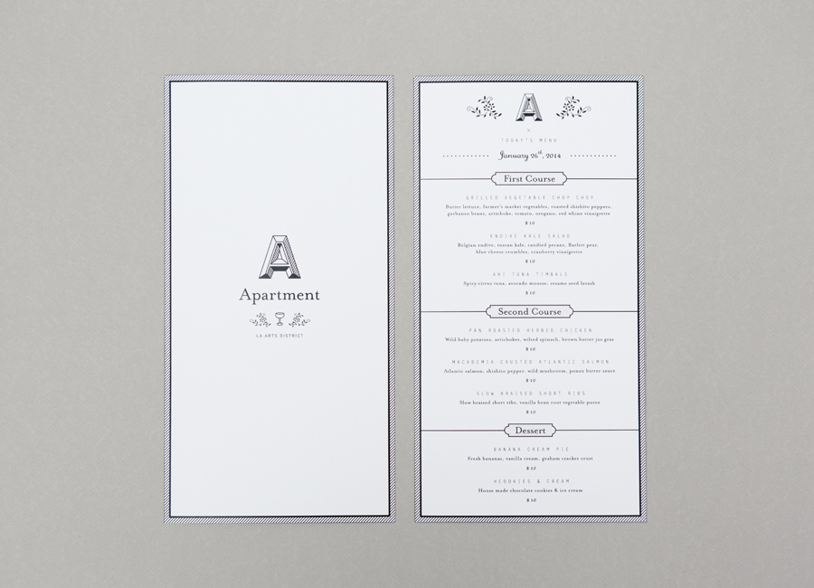 Illustrated menu for LA gallery and bar Apartment A designed by Say What Studio