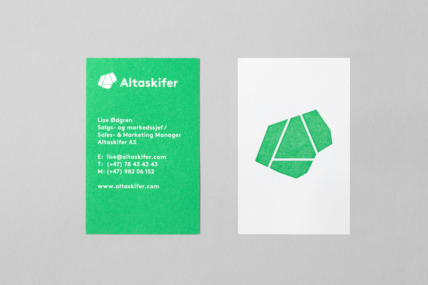 Brand identity and business cards for Alta Quartzite mining and sales business Altaskifer designed by Neue, Norway