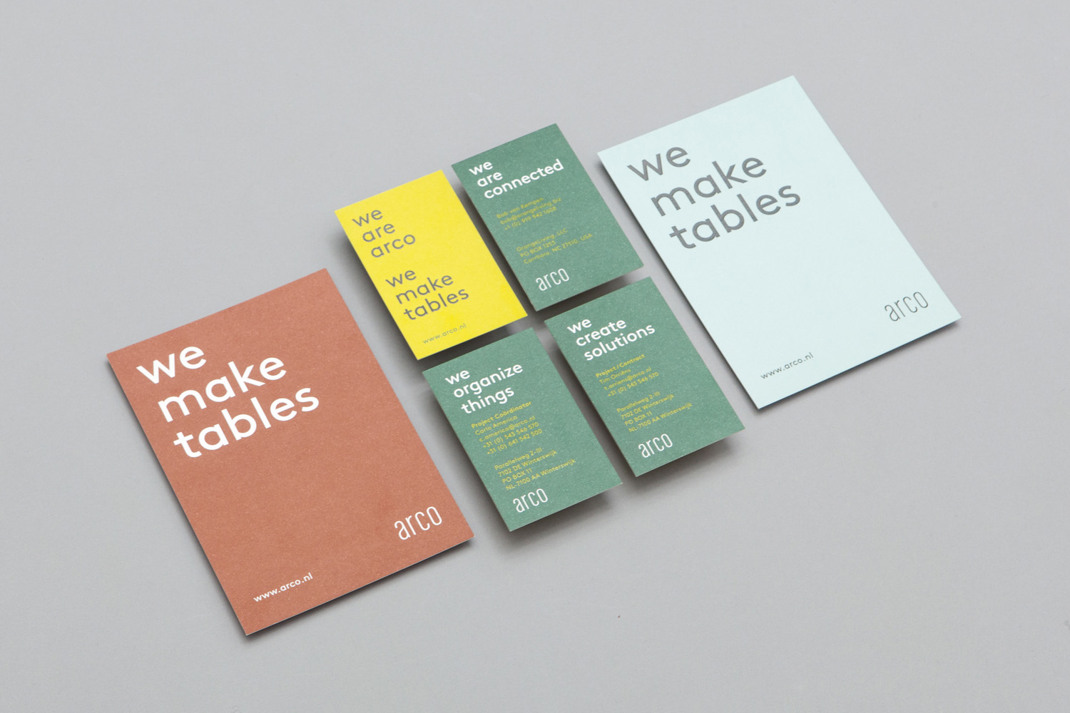 Brand identity and business cards for furniture manufacturer Arco by Raw Color, The Netherlands