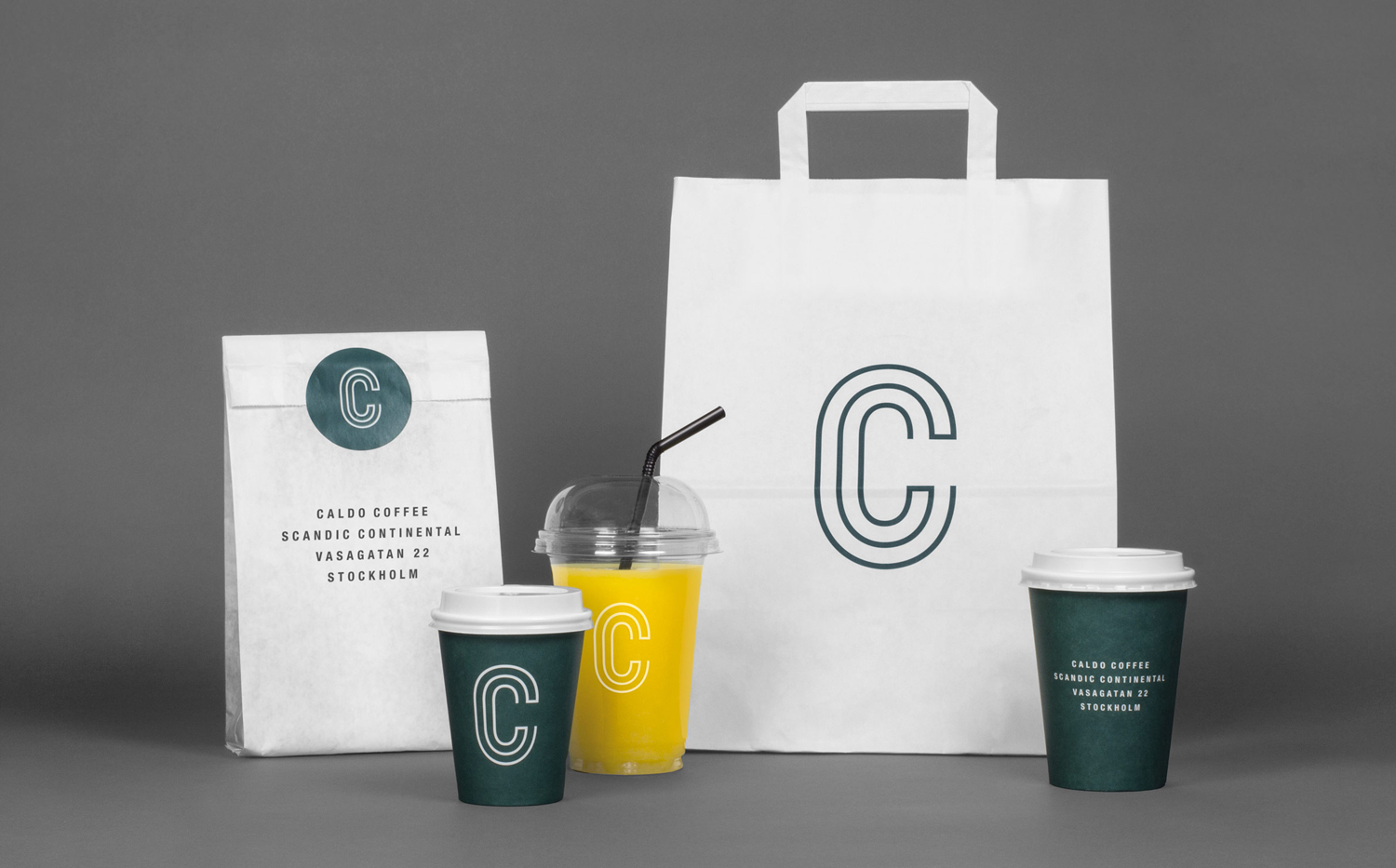 Logo and packaging designed by 25ah for Stockholm cafe Caldo Coffee at the Scandic Continental