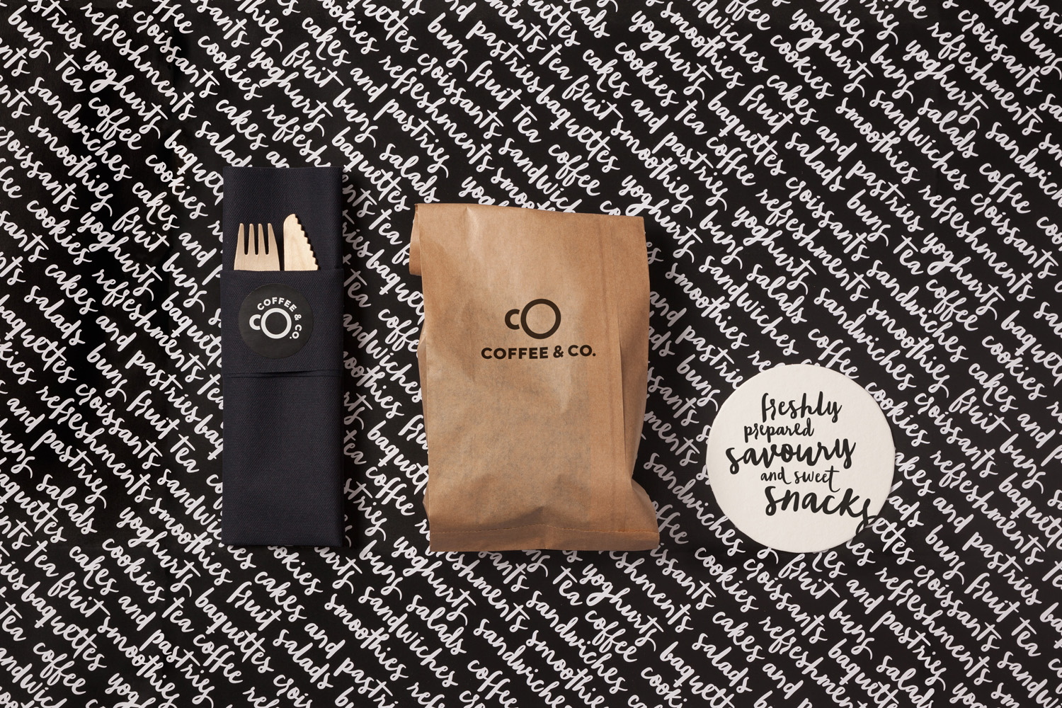 Logo and packaging by Bond for cruise ship cafeteria concept Coffee & Co.