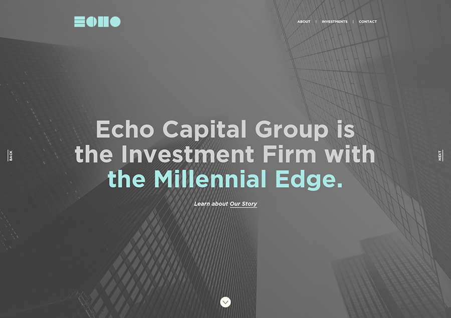 Website and visual identity created by Trüf for investment firm Echo Capital