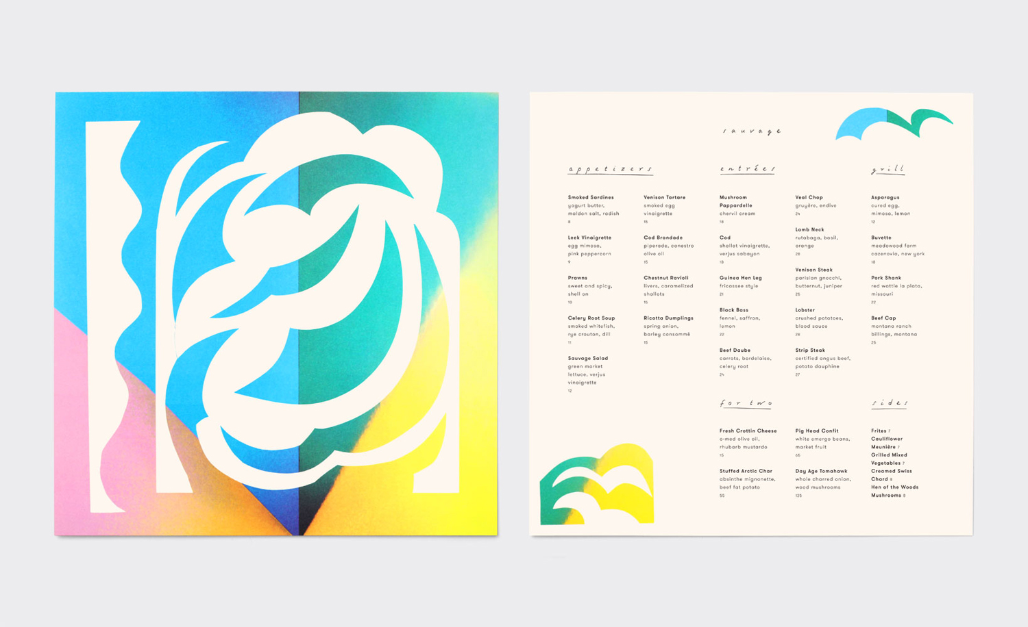 Brand identity and illustrated menus by New York design studio Triboro for Brooklyn cafe and bar Sauvage