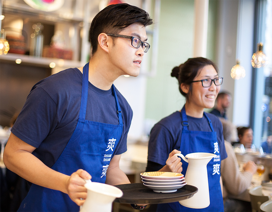 Brand identity and branded aprons for Shuang Shuang by ico Design, United Kingdom for Shuang Shuang by ico Design, United Kingdom