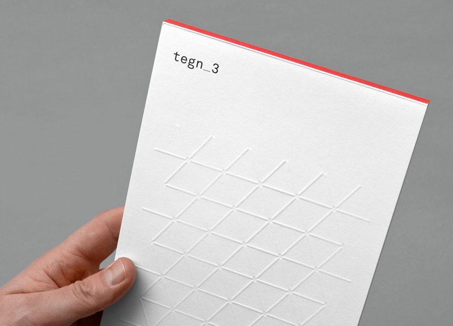Logo and blind embossed print for Tegn_3 by Neue designed in Oslo, Norway