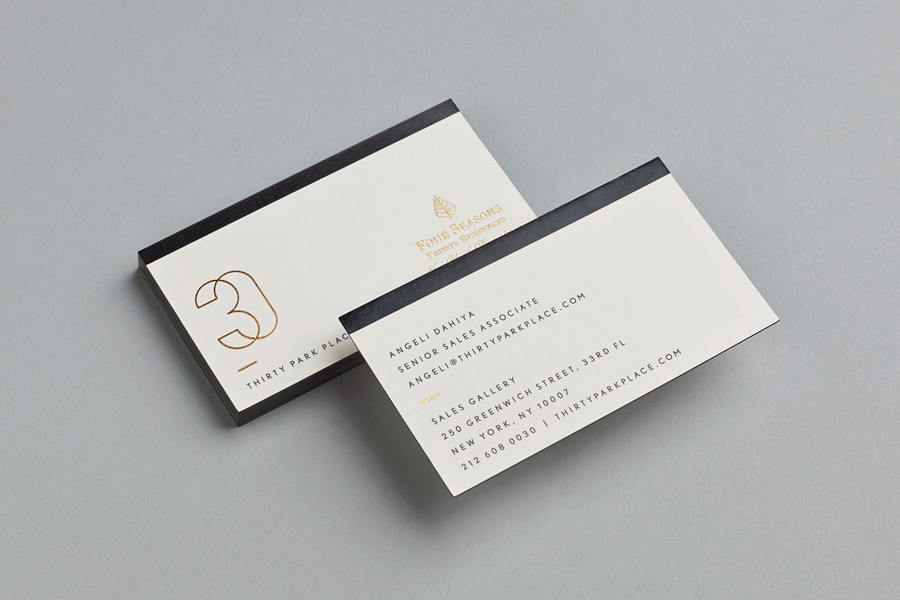 Gold foiled business cards for 30 Park Place designed by Mother.