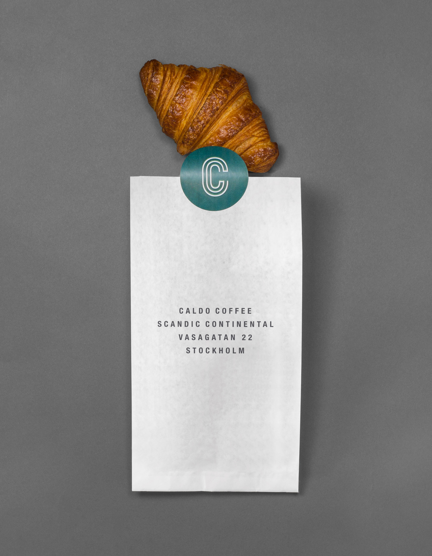 Logo and bakery packaging designed by 25ah for Stockholm cafe Caldo Coffee at the Scandic Continental