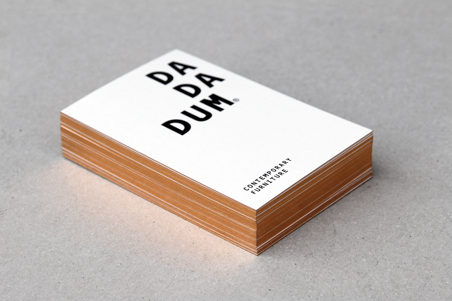 Edge painted business cards for Dadadum designed by Demian Conrad Design