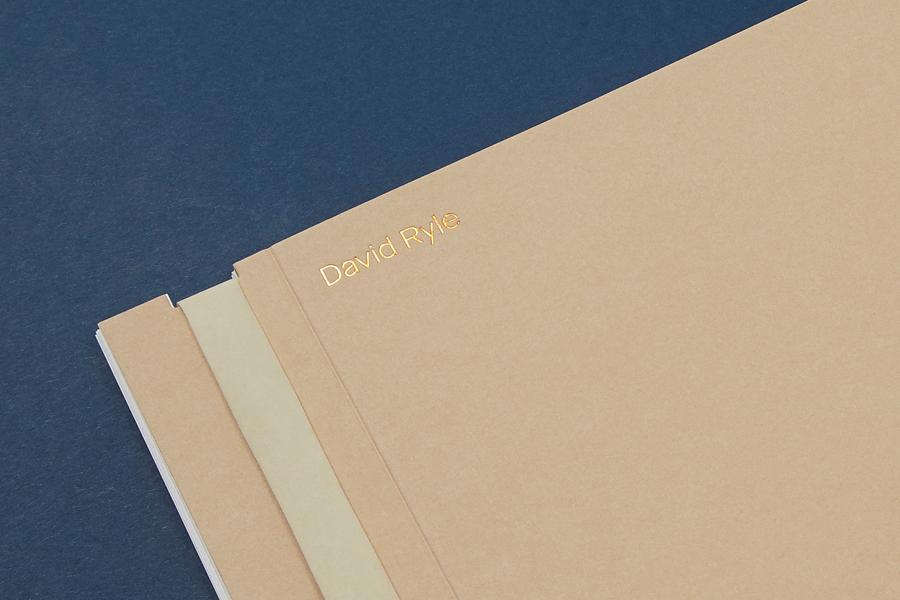 Copper block foiled portfolio for London based photographer David Ryle designed by S-T