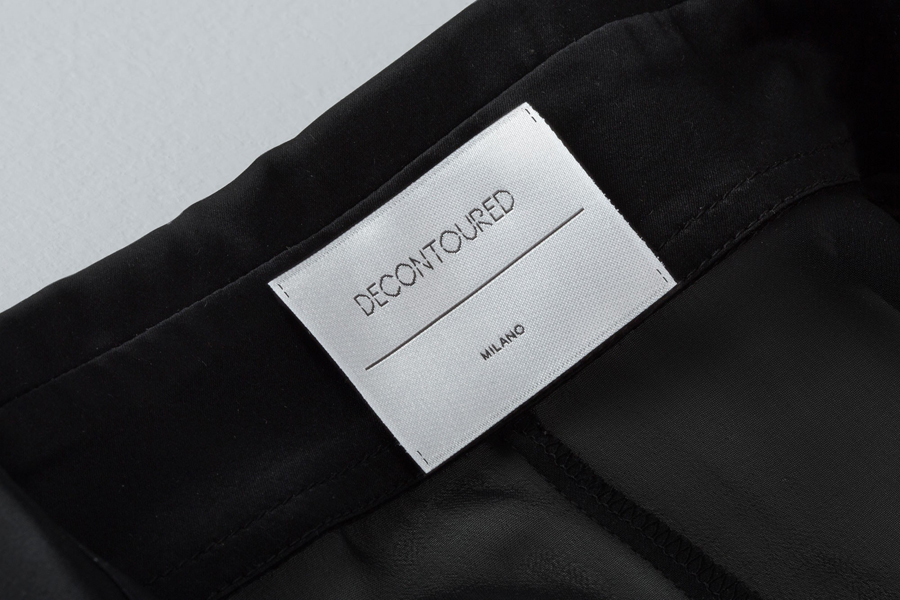 Logotype and garment labels designed by Bunch for Milan based fashion label Decontoured