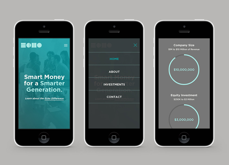 Mobile website and visual identity created by Trüf for investment firm Echo Capital
