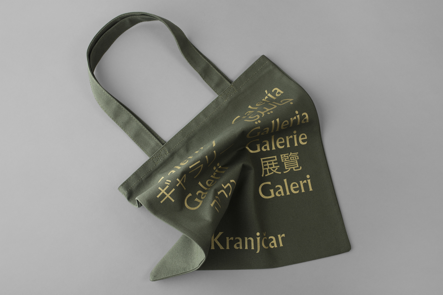 Brand identity and screen printed tote bag by Bunch for Zagreb-based modern art gallery Galerija Kranjčar.