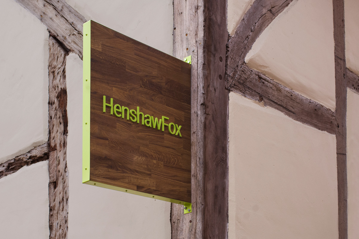 Brand identity and sign design by Parent for Romsey estate agent HenshawFox.