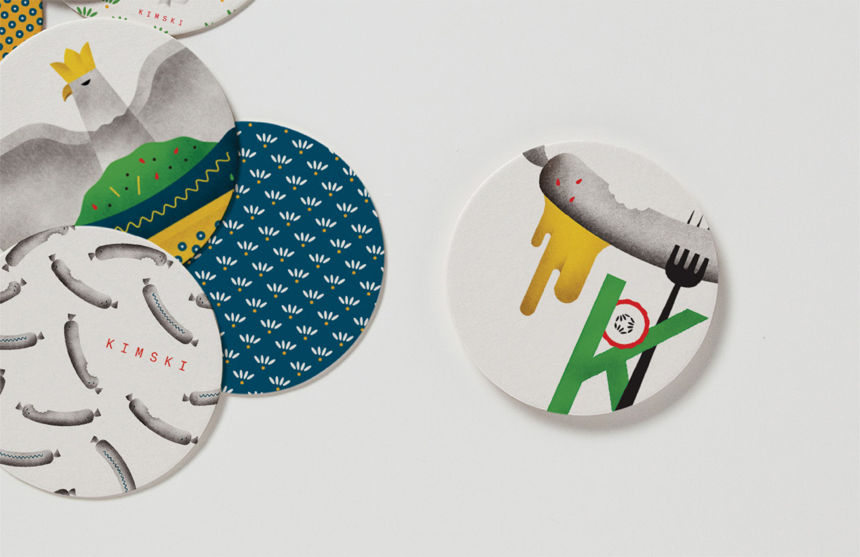 Brand identity, illustration and coasters by New York graphic design studio Franklyn for Chicago's Korean Polish street food restaurant Kimski