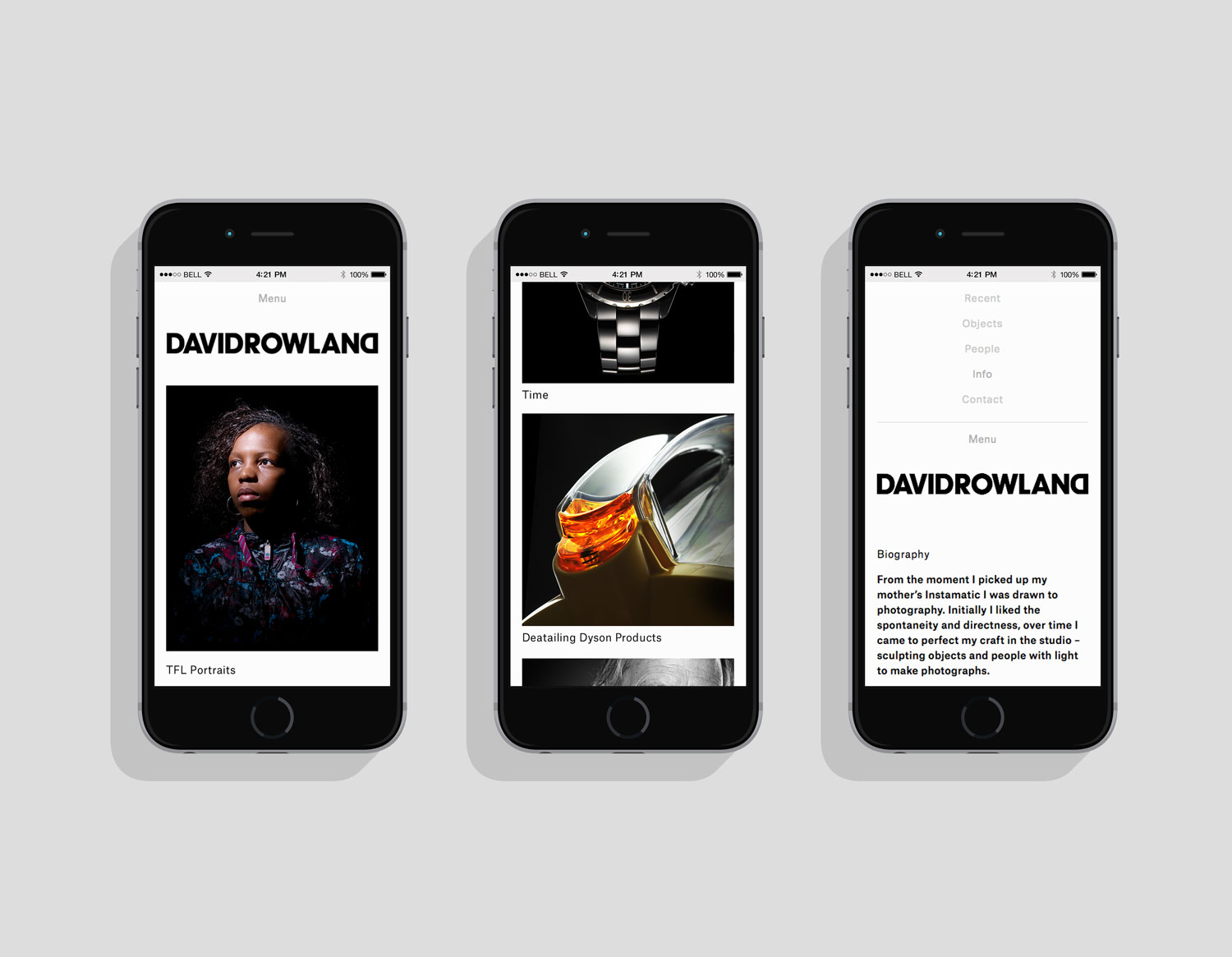 Brand identity and responsive website by London-based graphic design studio ico Design for photographer David Rowland
