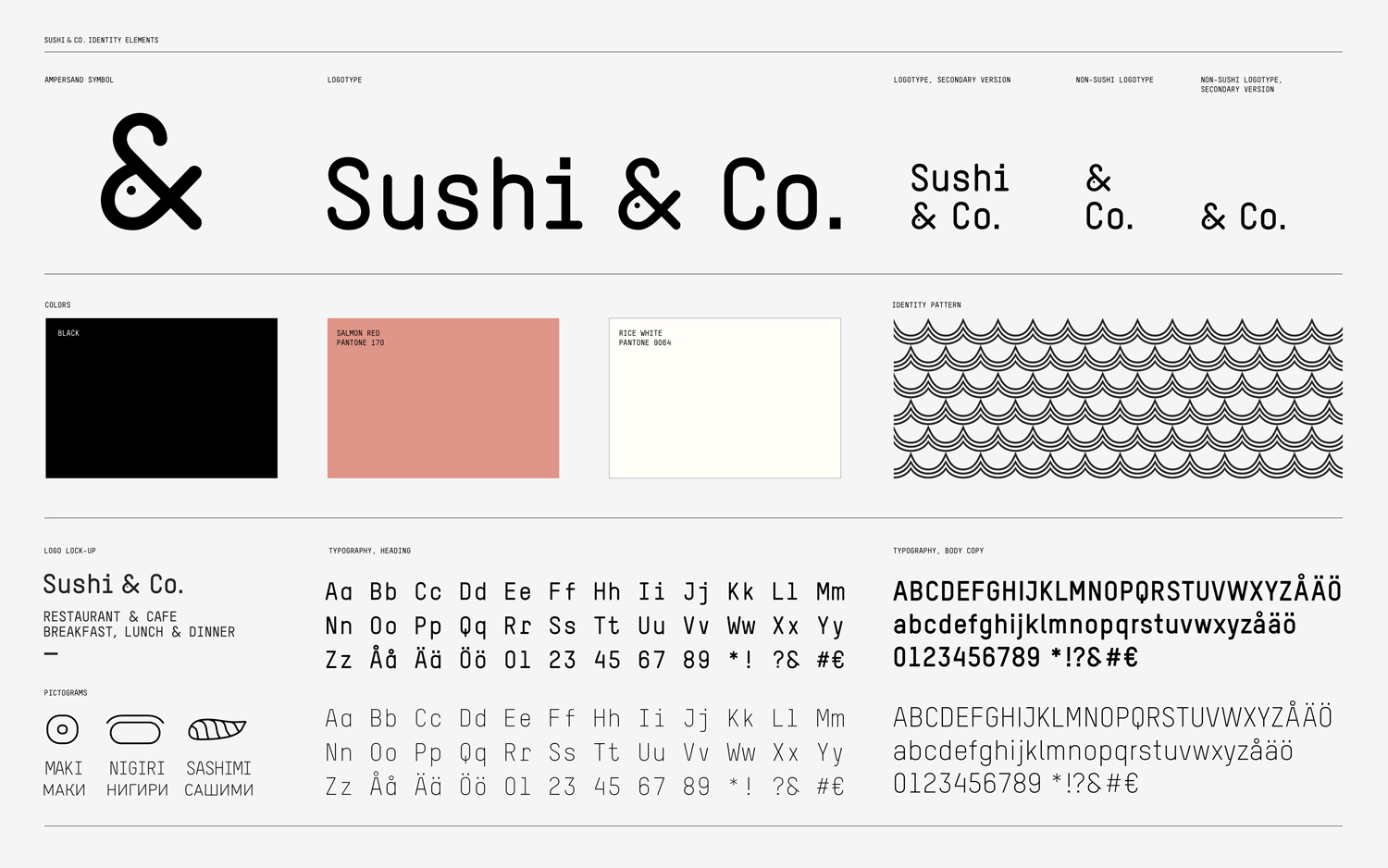 Brand guidelines for Baltic Sea cruise ship restaurant Sushi & Co. designed by Bond