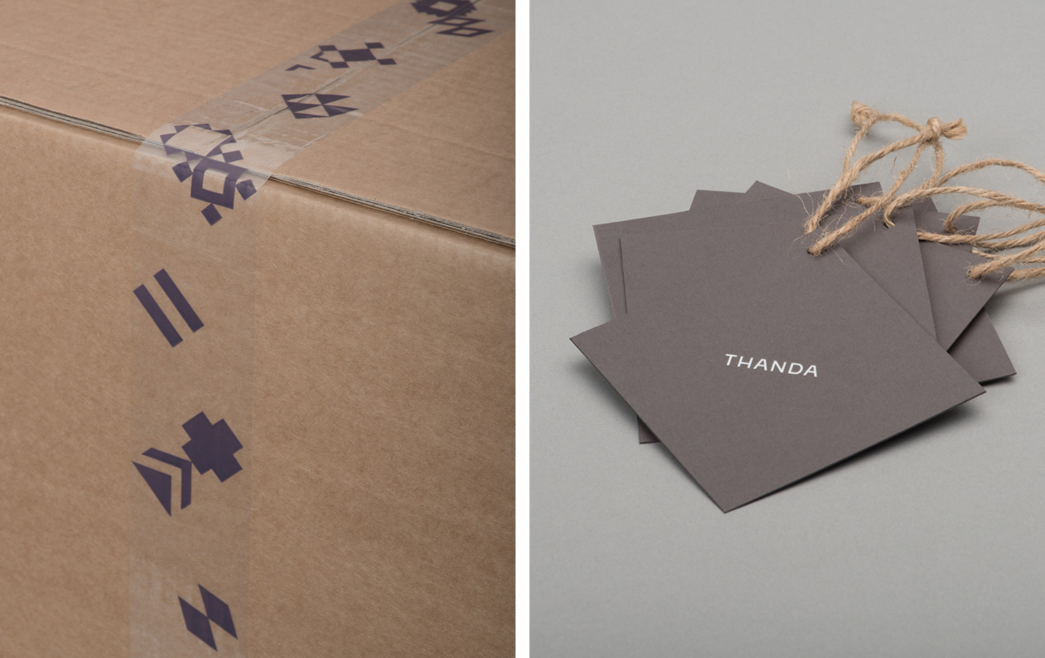 Brand identity, box tape, and product tags by UK graphic design studio Karoshi for conscientious interior accessory business Thanda
