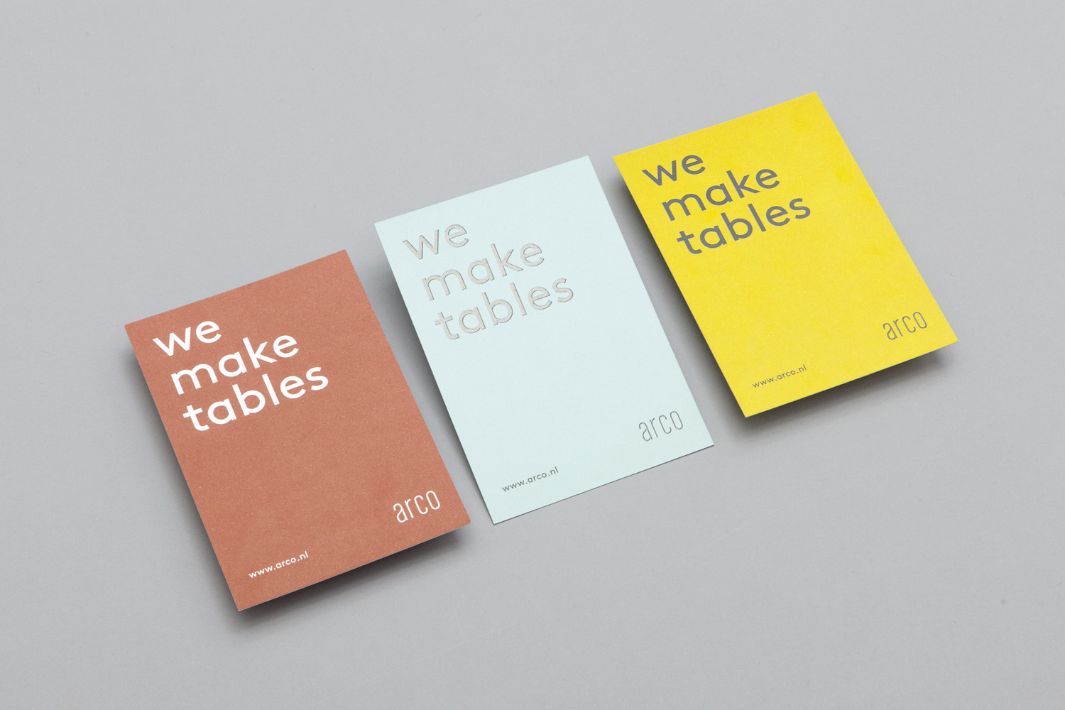 Brand identity and postcards for furniture manufacturer Arco by Raw Color, The Netherlands