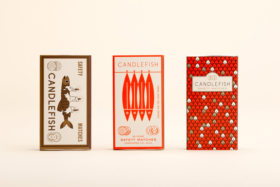 Illustrated match packaging for Charleston scented candle store and workshop Candlefish by Fuzzco